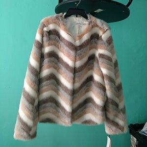 Calvin Klein Chevron Faux-fur Jacket